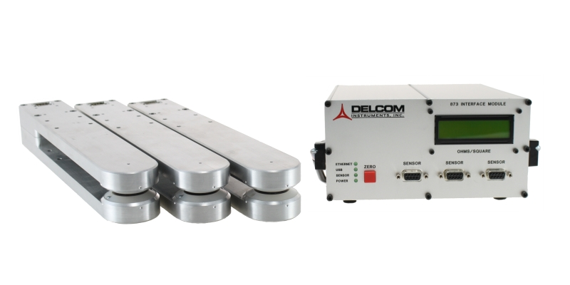 multiple eddy current sensors measure Ohms/sq inline, in real time, and without contact